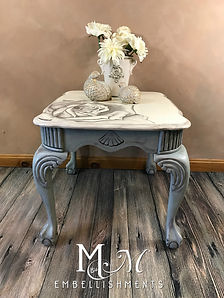 Hand Painted Rose on End Table
