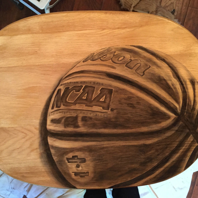 12 basketball hand stained tv table
