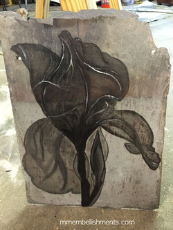 Xray Iris stained on slate tile, logo