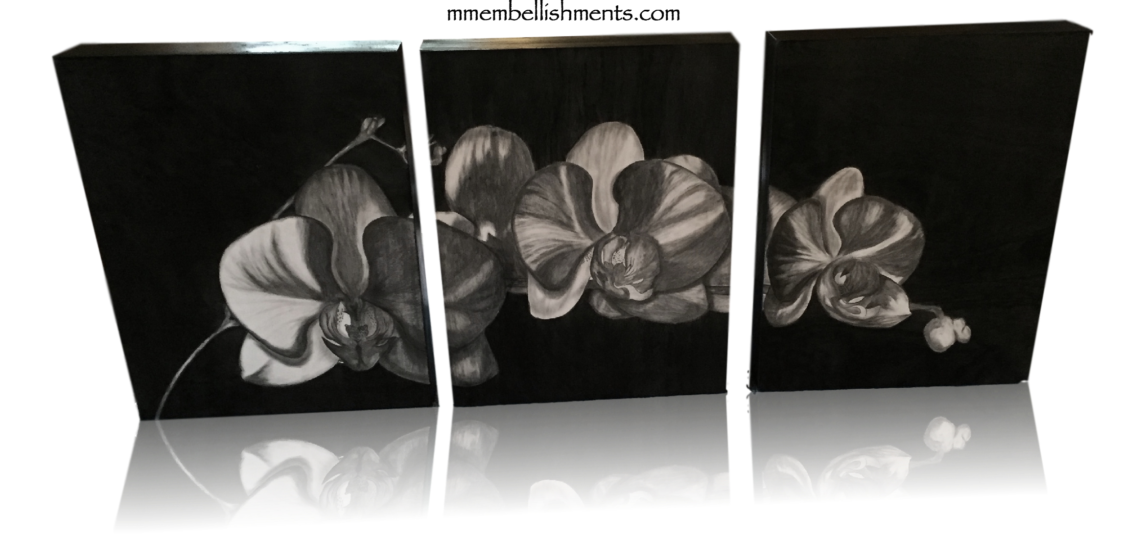 Hand Stained Orchid Triptych