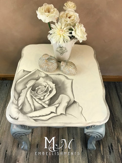 stain painting rose damask table