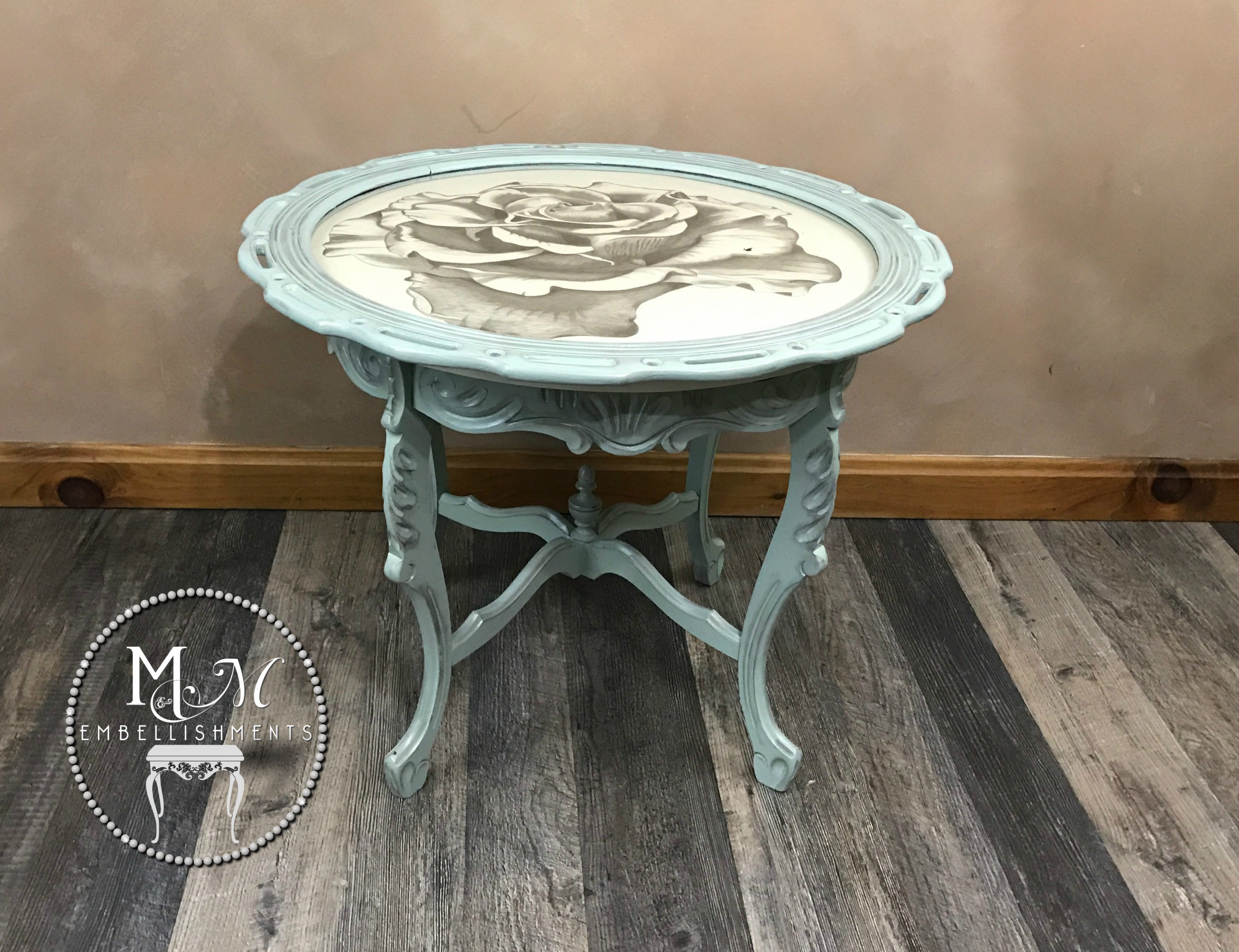 24 hand stained rose table