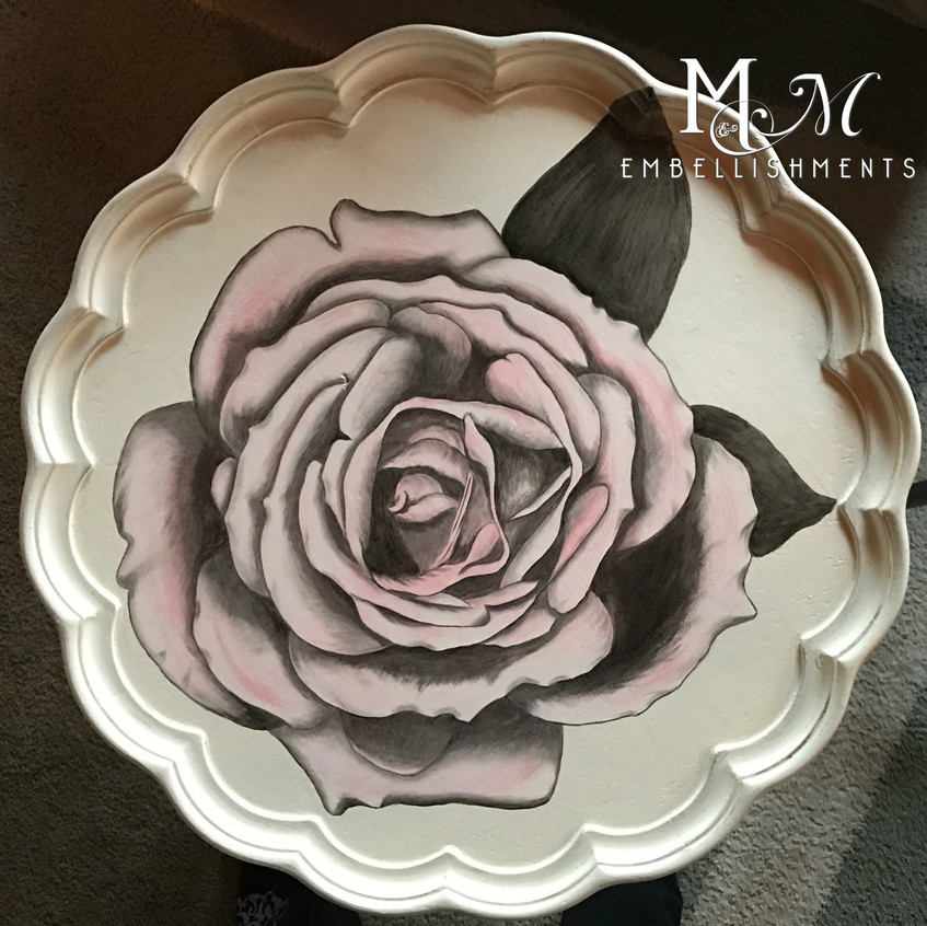14 hand stained rose