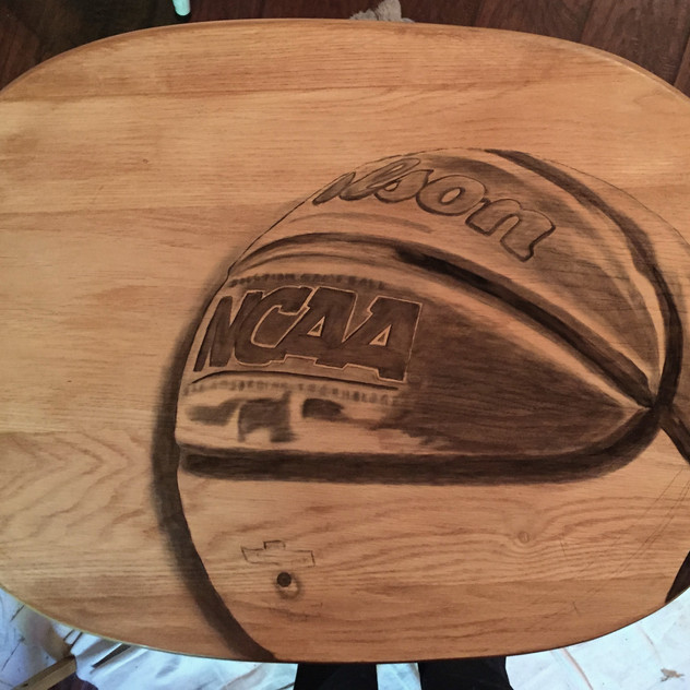 6 basketball hand stained tv table