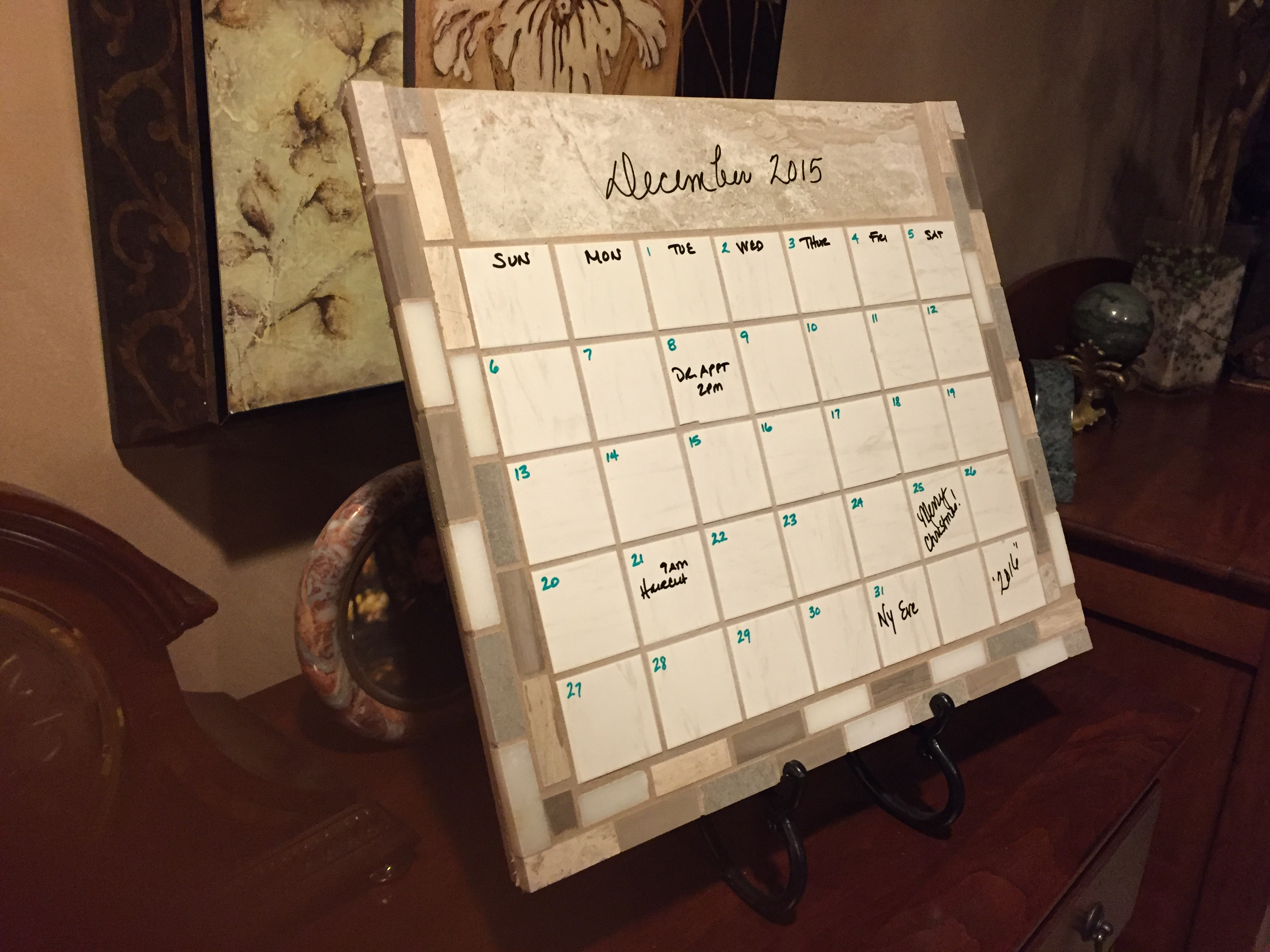 Calendar1 ceramic tile and stone dry erase calendar