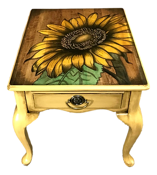 Hand Stained Sunflower on painted table
