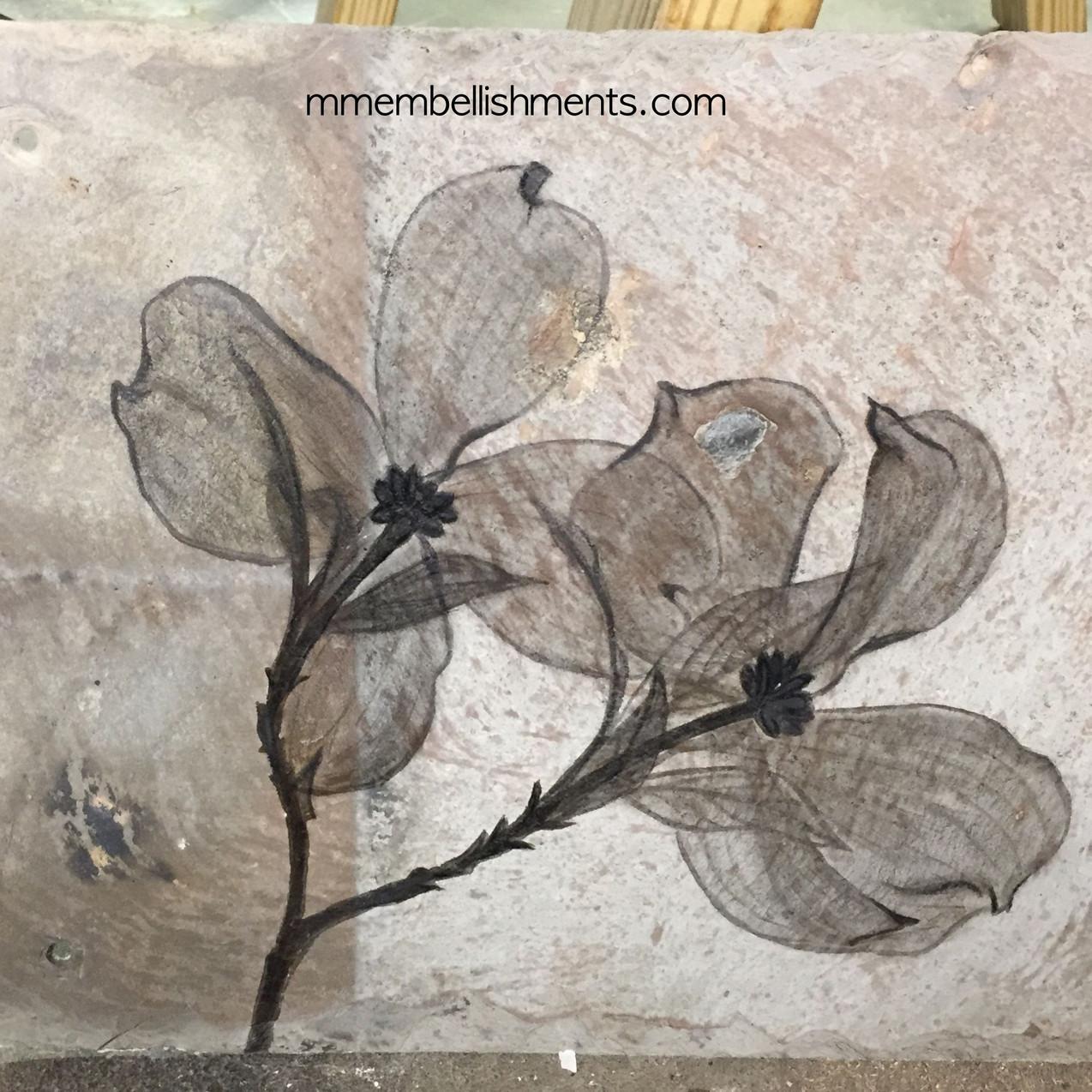 Dogwood xray art on slate tile, logo