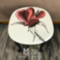 Hand painted coral rose end table