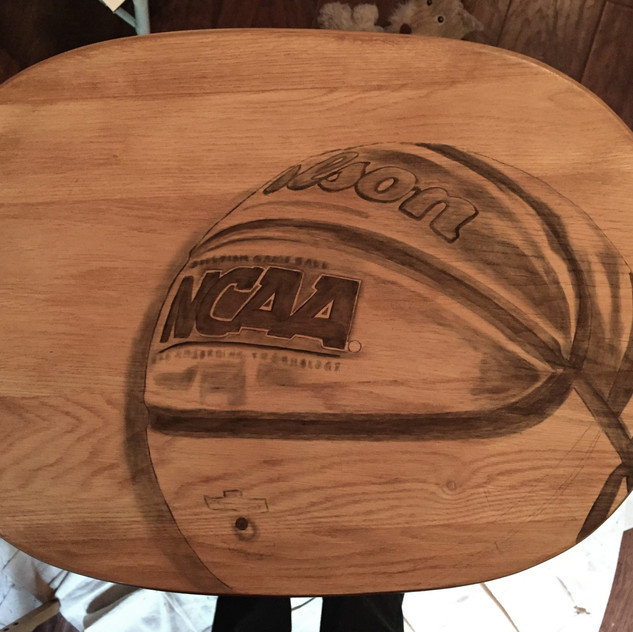 5 basketball hand stained tv table