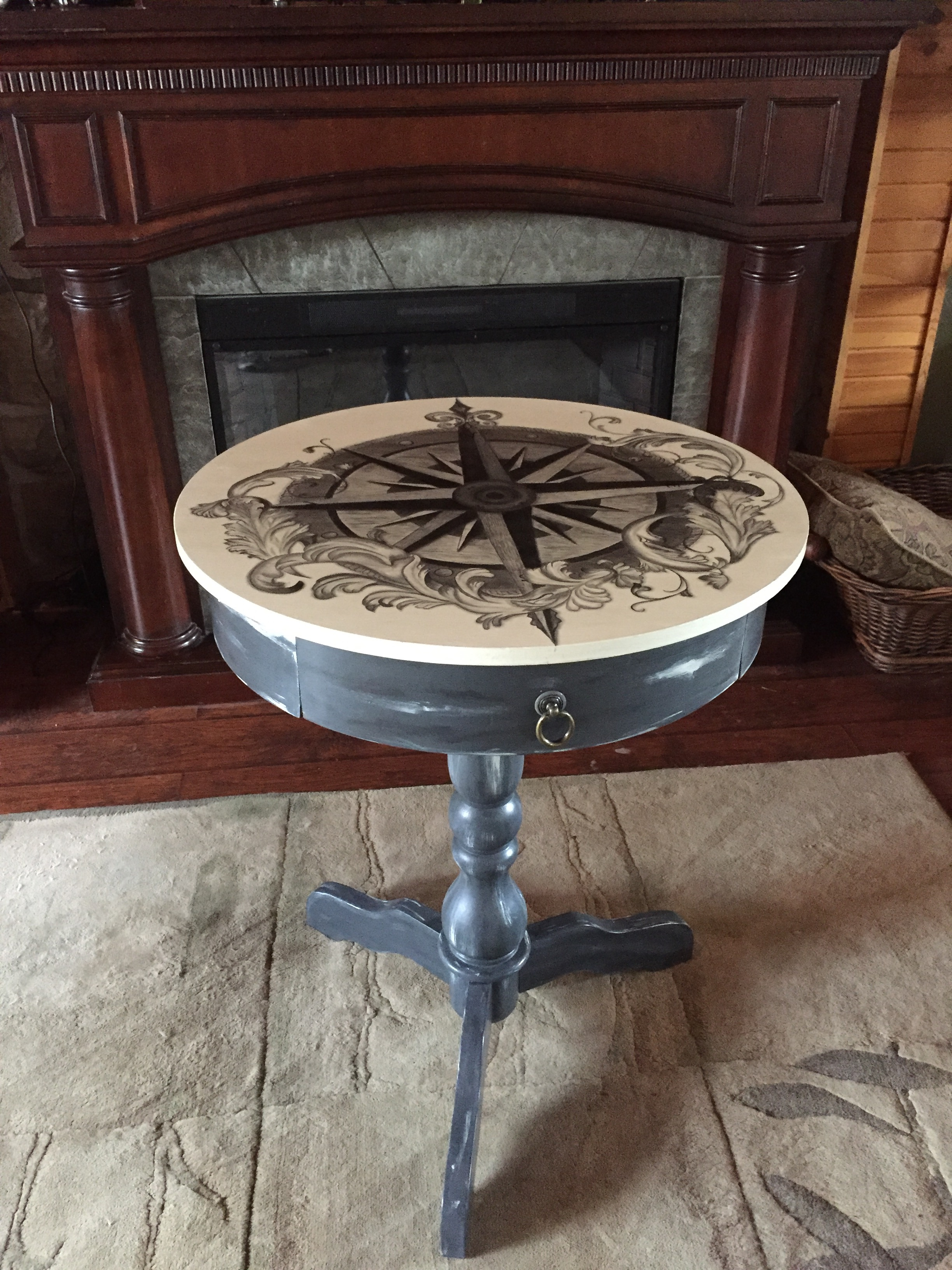 33 drum table compass rose