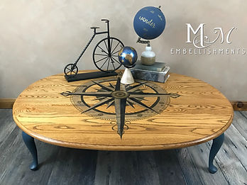 Hand Pained Compass Rose Coffee Table