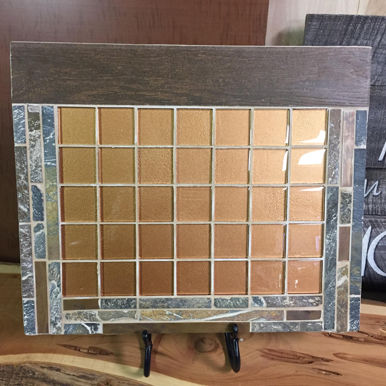 Calendar8, amber glass tile, slate, dry erase