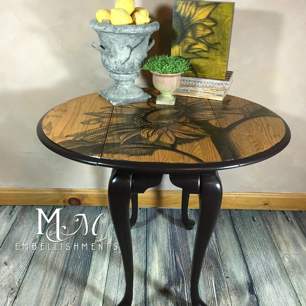 Hand Stained Sunflower Queen Anne Table