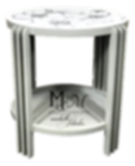 Hand painted accent table with custom dogwood design