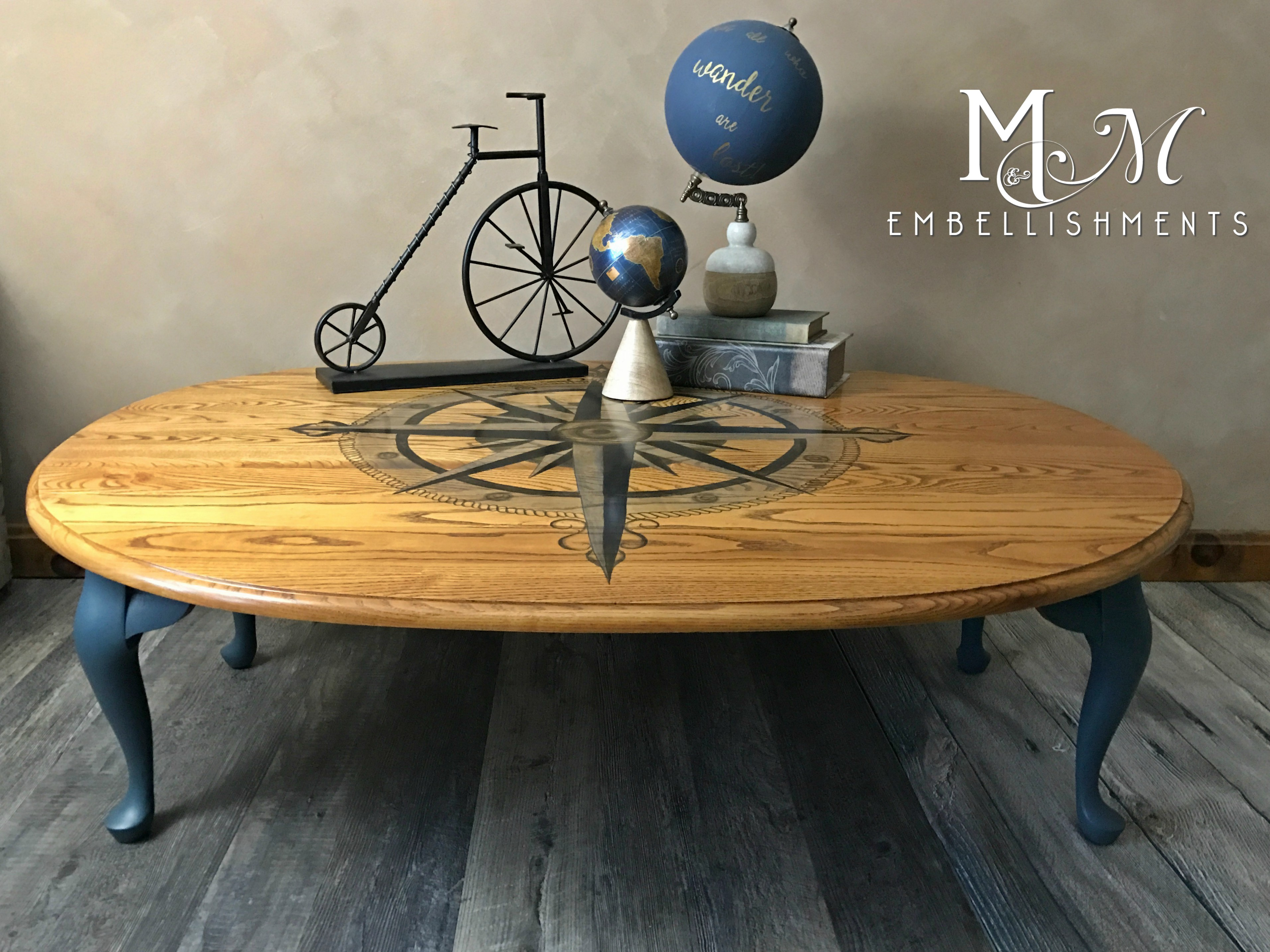 stain shaded compass rose table