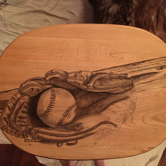 8 baseball stained tv table