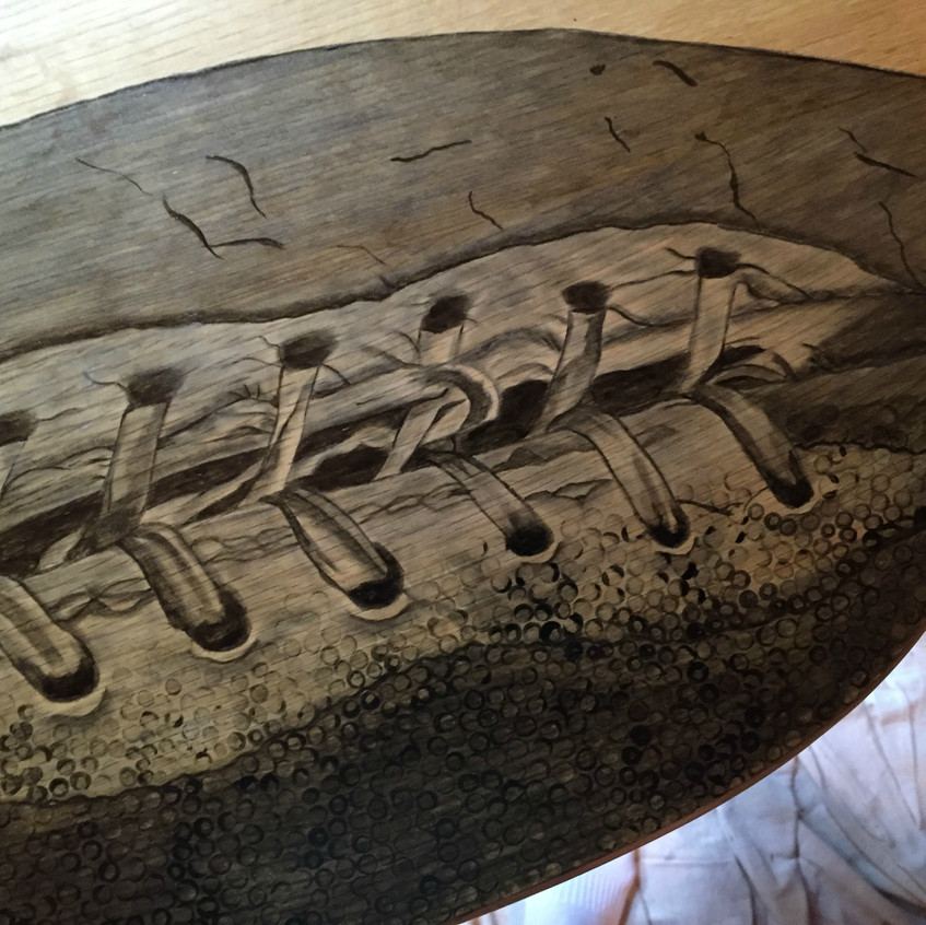 15 football hand stained tv table