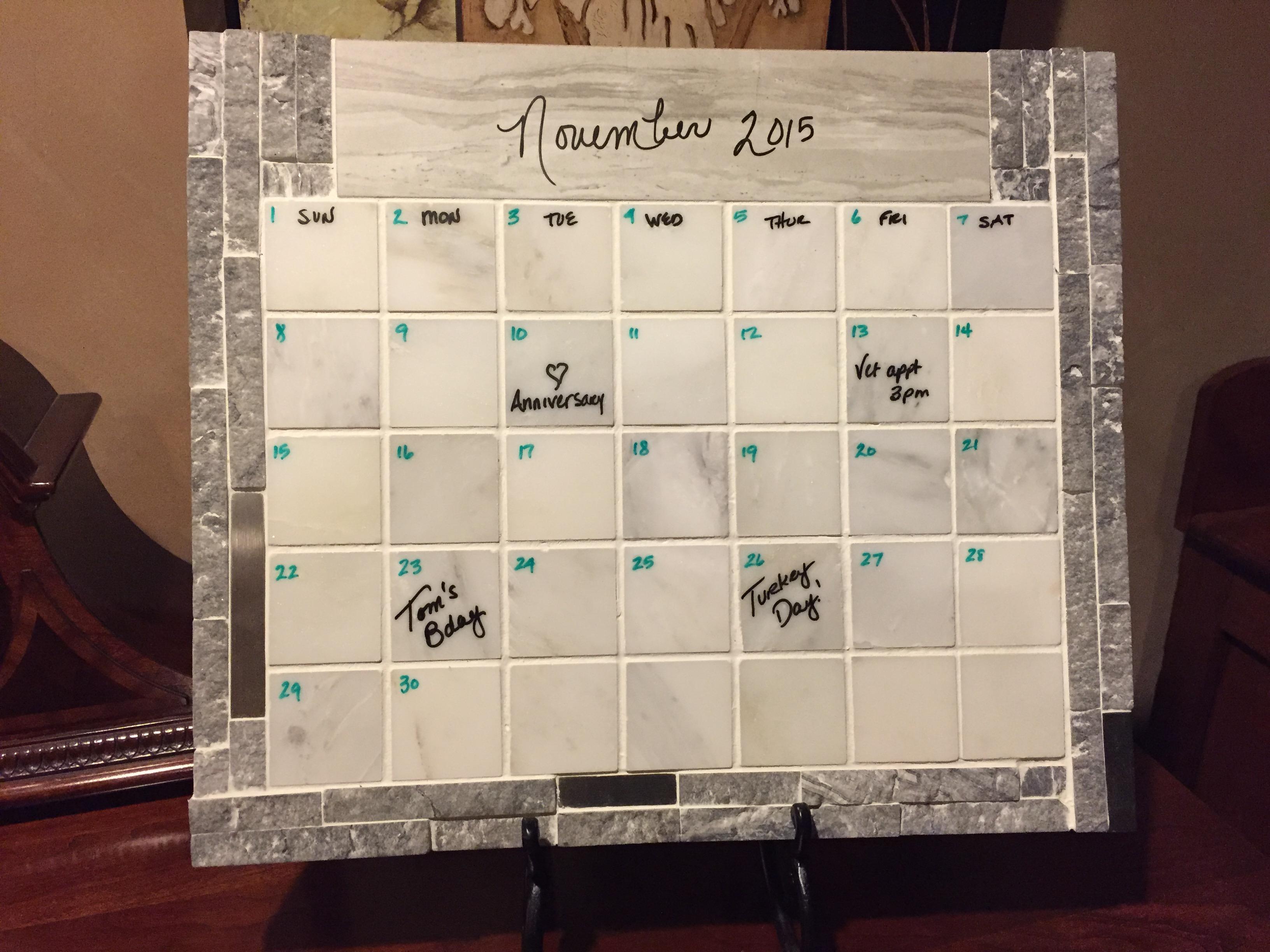 Calendar3, marble and stone calendar, dry erase