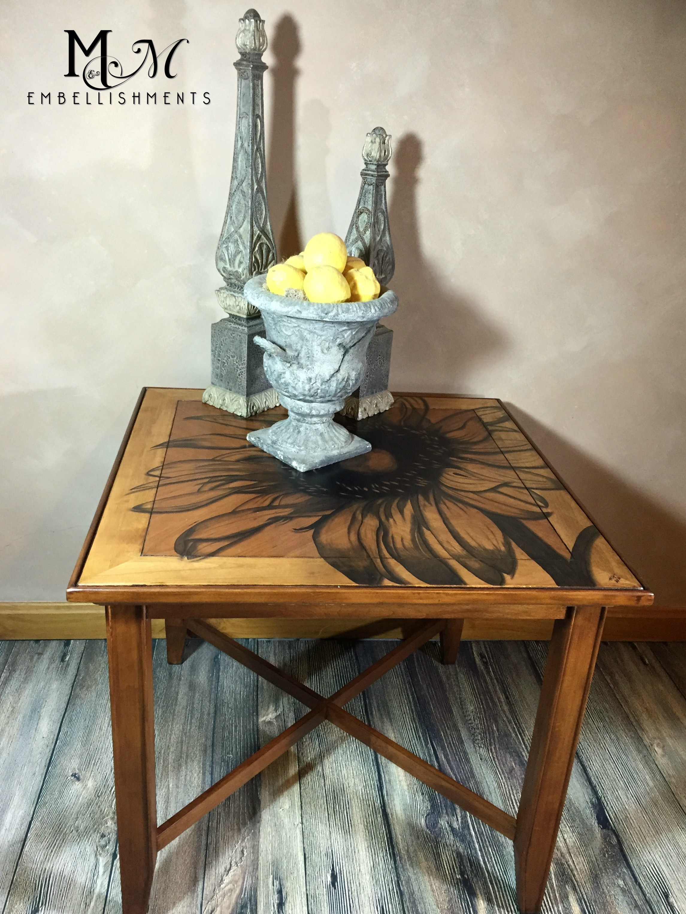 Hand staianed sunflower accent table