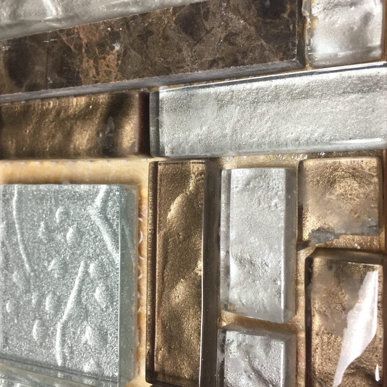 Glass tile calendar, silvers and browns