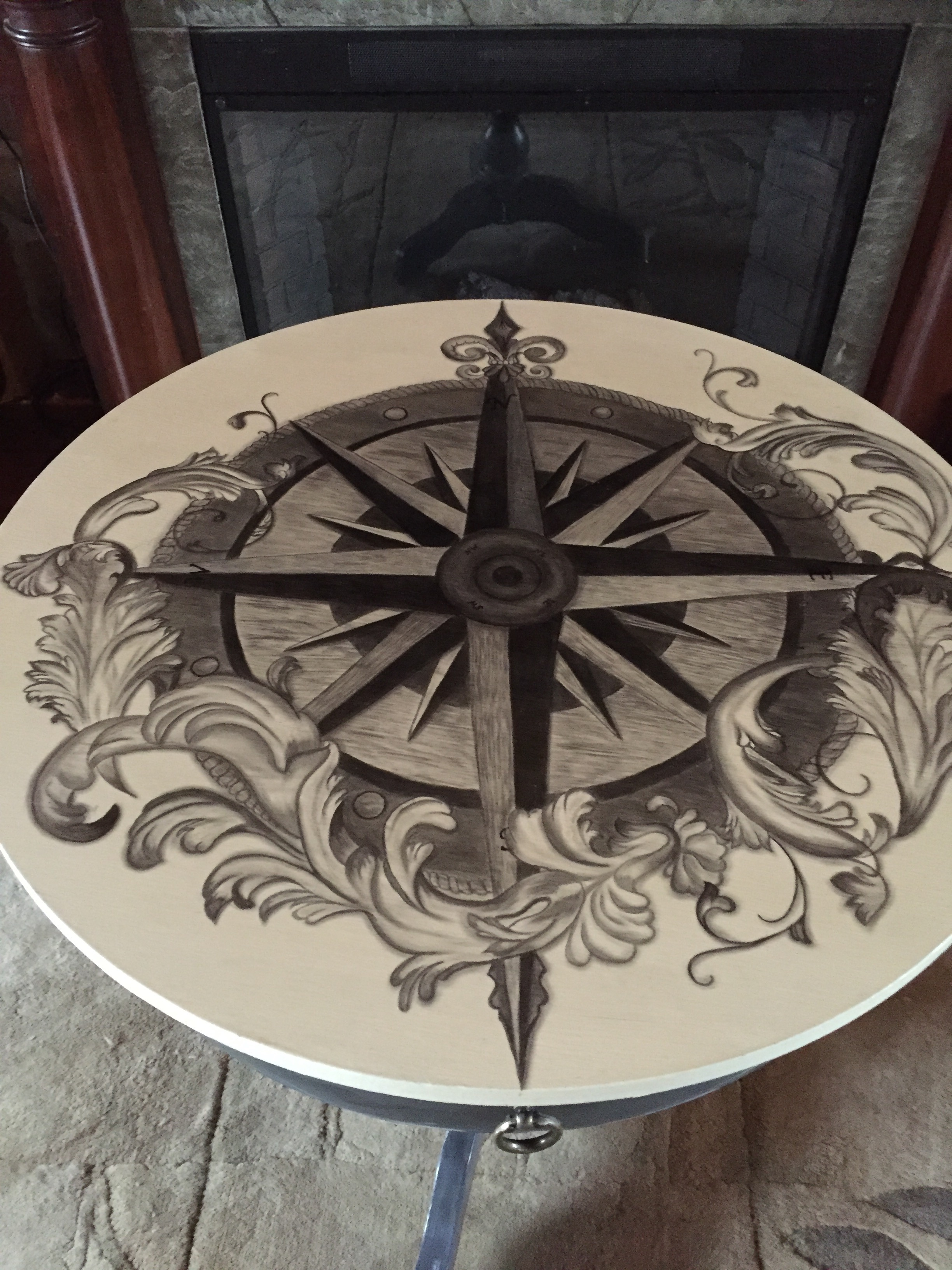 34 drum table compass rose