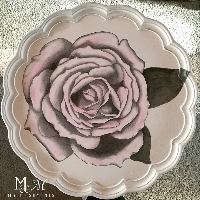 16 hand stained rose