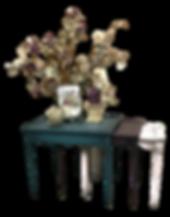 Hand pained damask nestig table