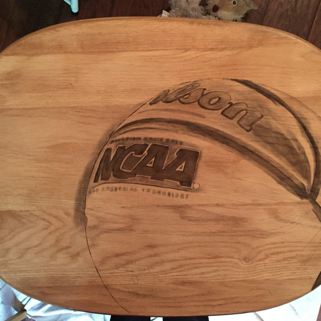 4 basketball hand stained tv table