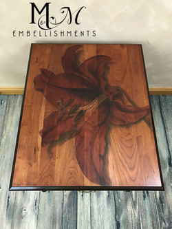 stain painted lily table