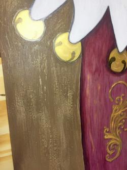 detail of handpainted stocking