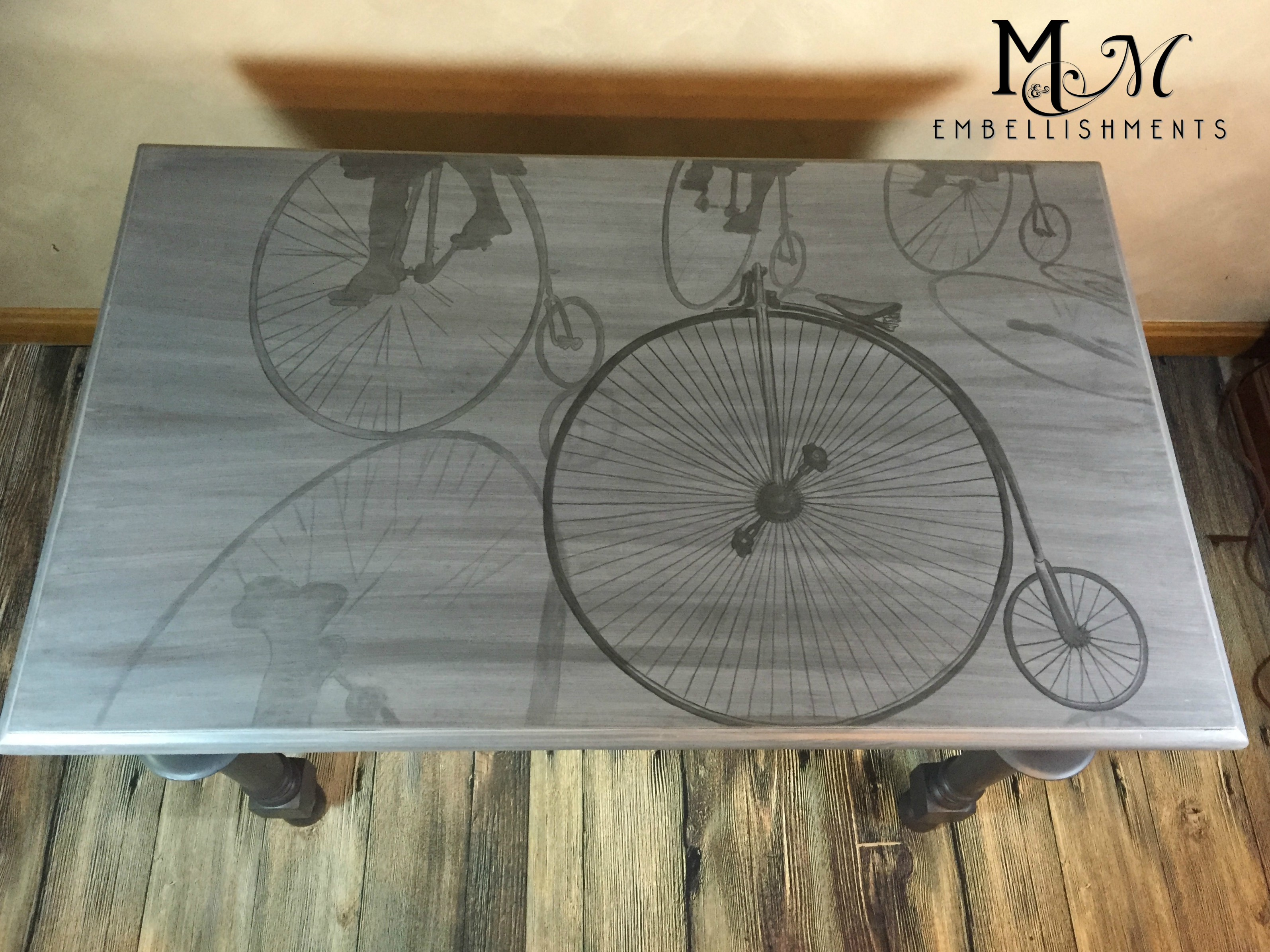 Hand Stained Bicycle Writing Desk