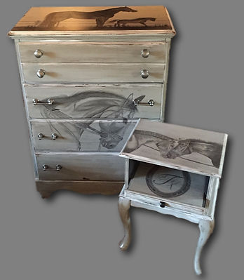 Hand painted horse dresser