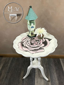 Hand Painted Rose Accent Table