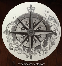 30 drum table compass rose