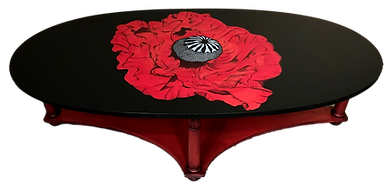 Red Poppy on Painted Coffee Table
