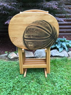 25 basketball hand stained tv table