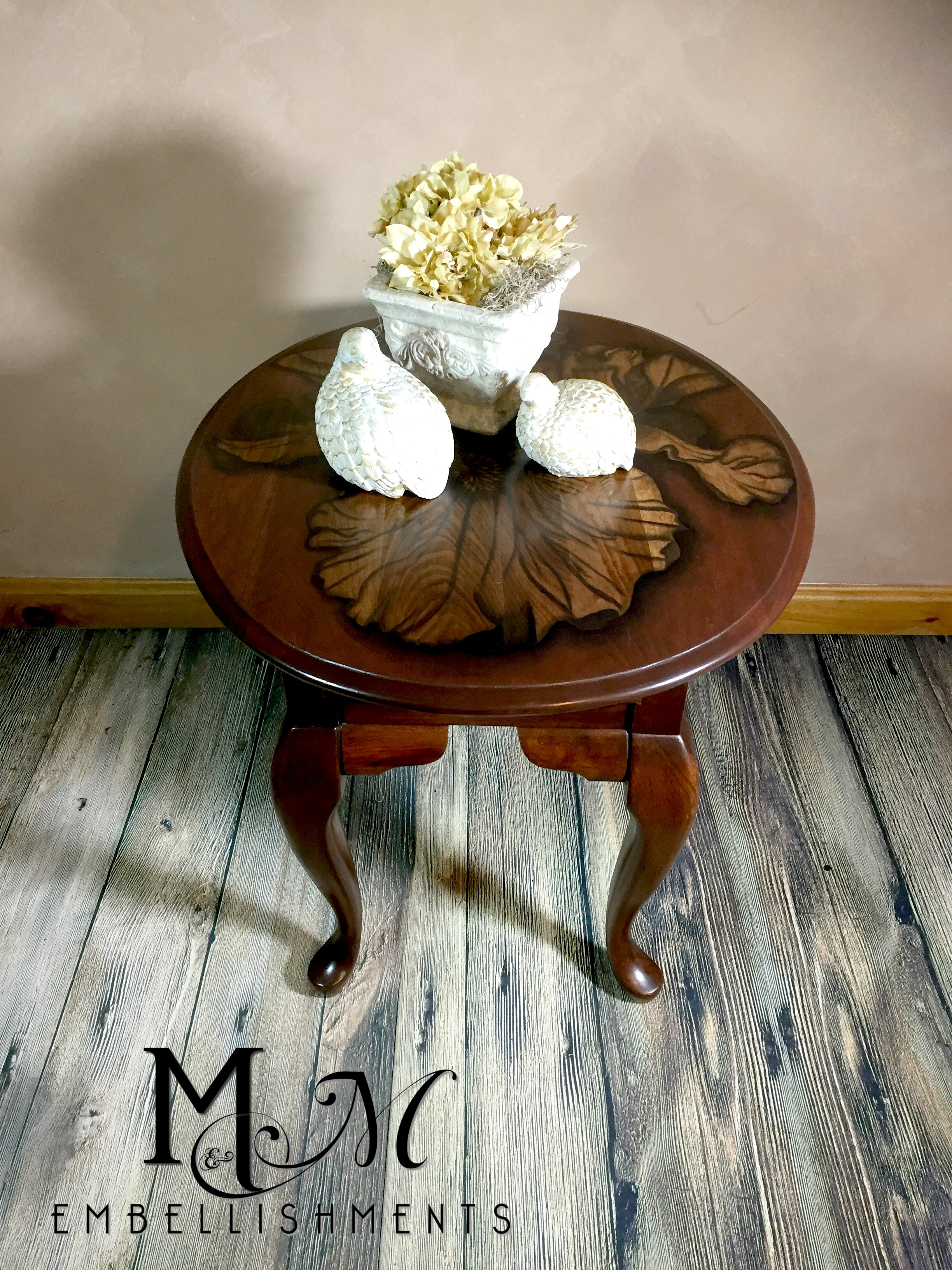Hand STained Iris Accent Table