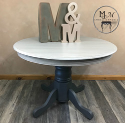 15 oak pedestal table gray wash
