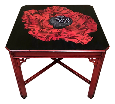 Red Poppy painted table