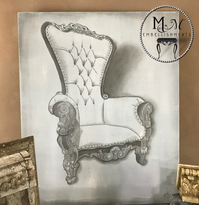 Old World Vintage Chair Art using Stain