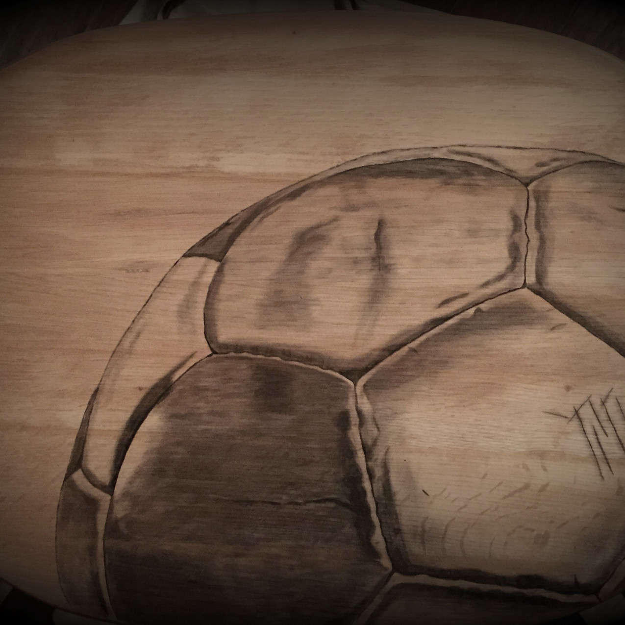 1 soccer hand stained tv table