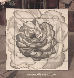 Stained rose art on repurposed cabinet door