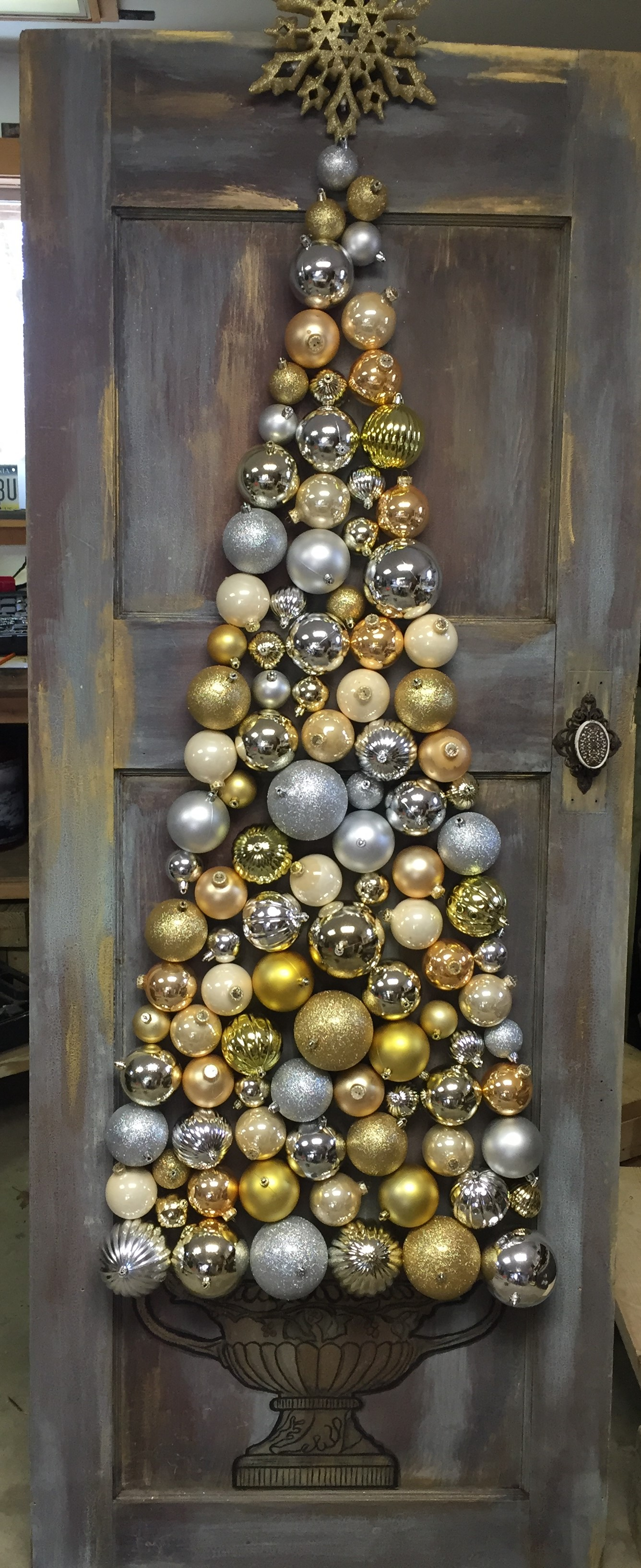 Christmas tree on old door