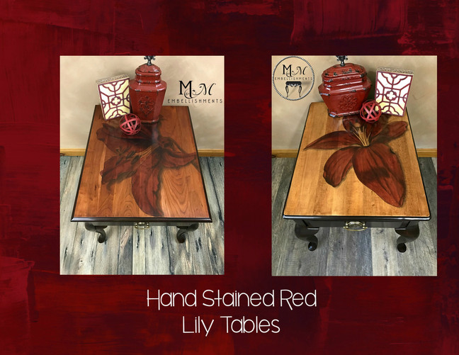 Red Lily Dyed and Stained Table