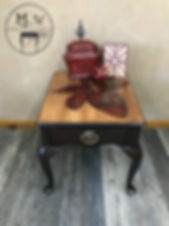 Hand stained red lily end table