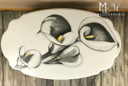 stain painted calla lily table