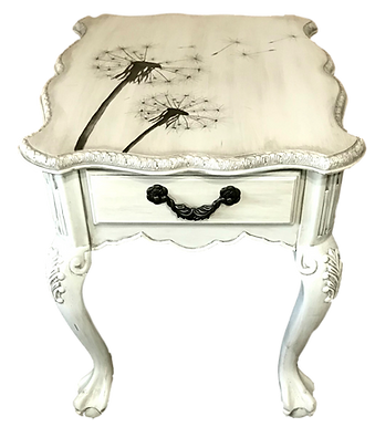 Hand Painted Dandelions on Painted End Table