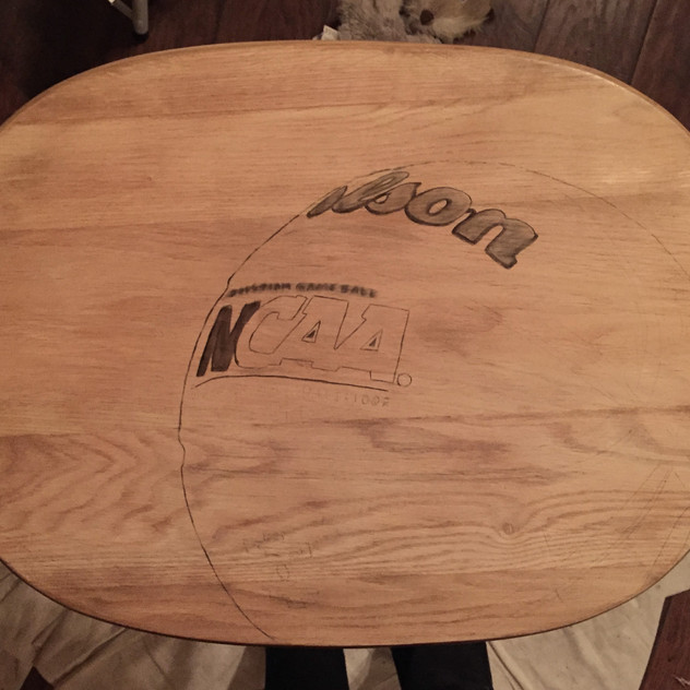 2 basketball hand stained tv table