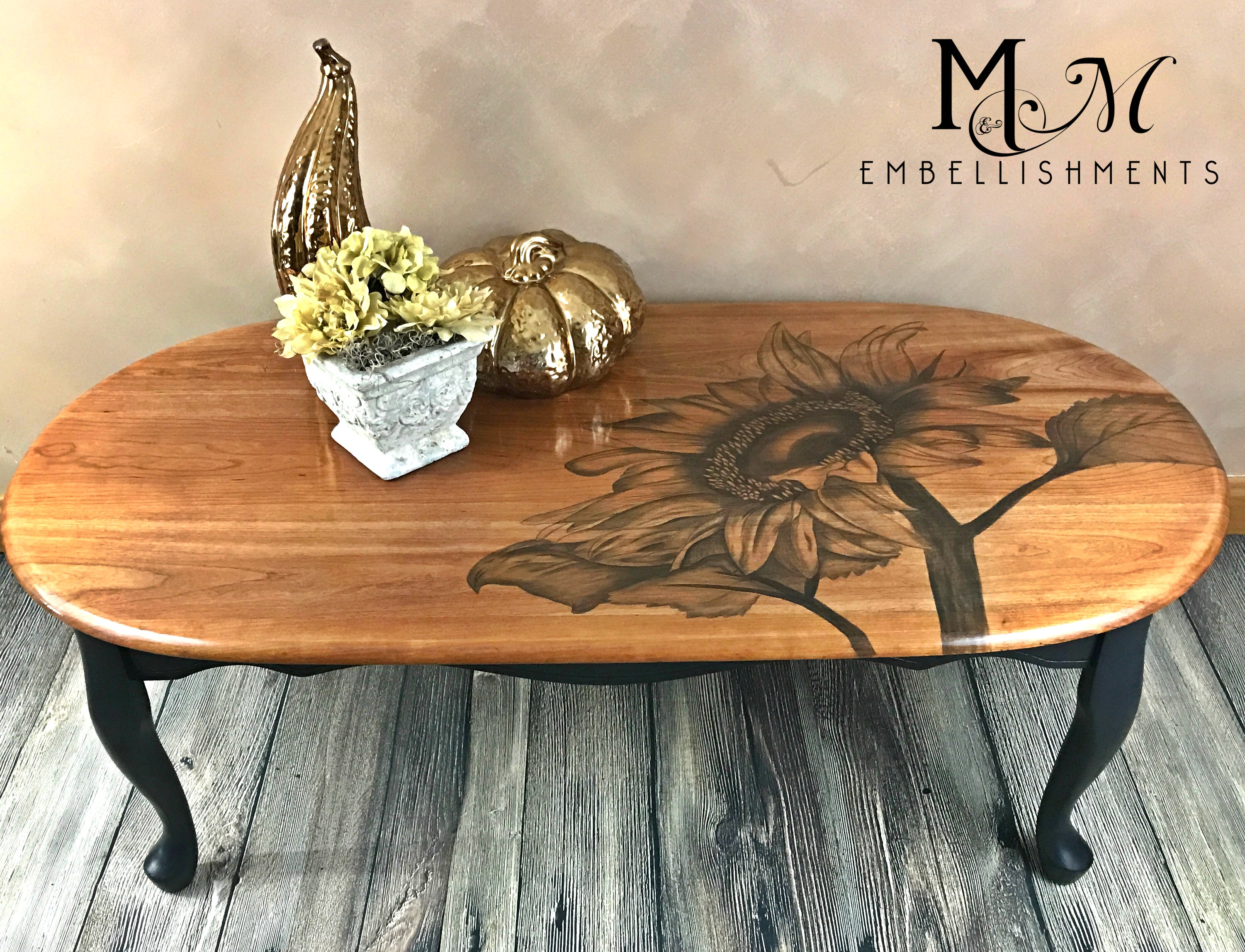 stain painted sunflower table