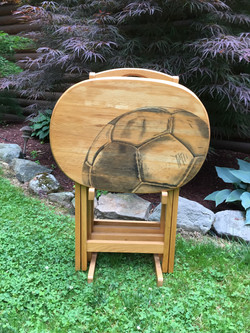 25 soccer hand stained tv table